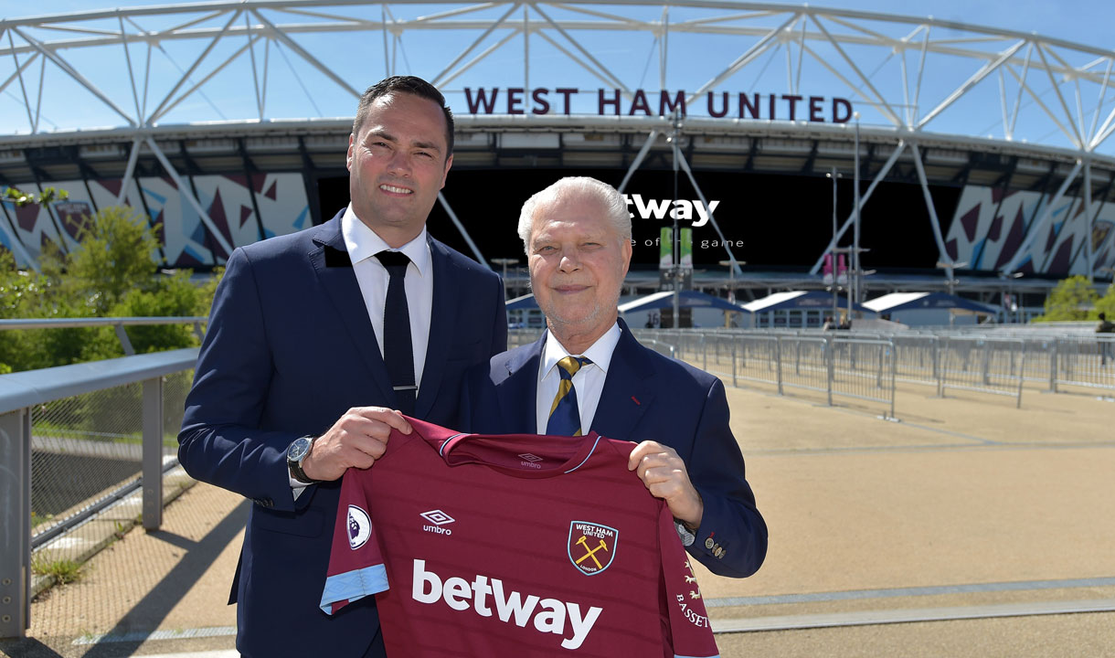 Hammers Joint-Chairman David Gold launches the Hammers' renewal with Betway