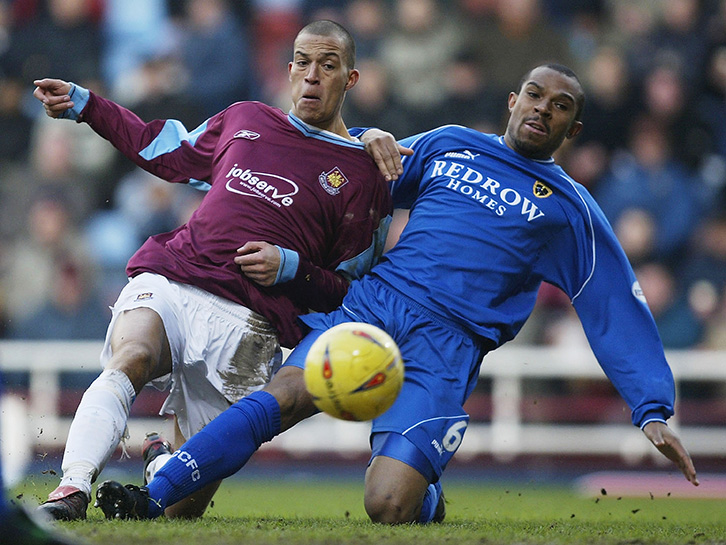 Bobby Zamora scored on his Hammers home debut against Daniel Gabbidon's Cardiff City