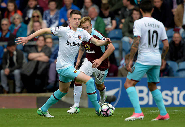 Declan Rice made an assured first-team debut at Burnley in May 2017