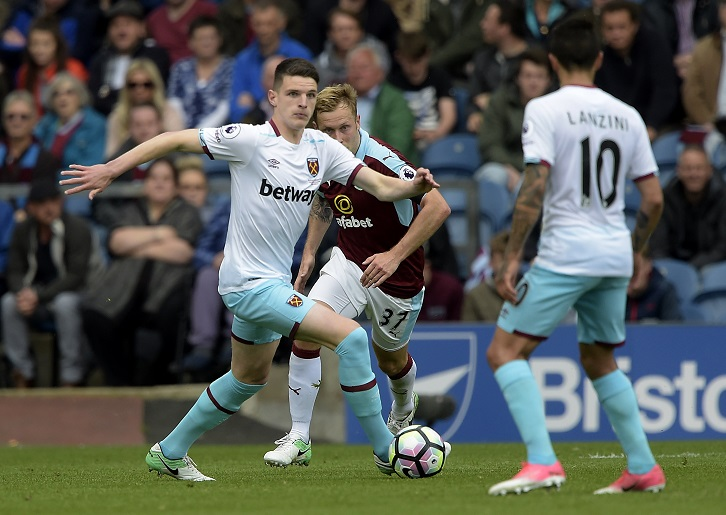 Declan Rice made his first-team debut at Burnley in May 2017