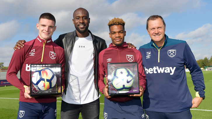 Declan Rice and Grady Diangana received their Premier League Debut Footballs from Terry Westley and Carlton Cole