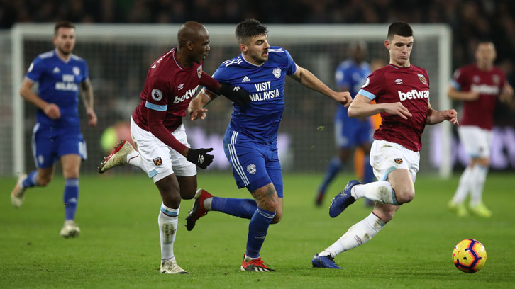 Declan Rice and Angelo Ogbonna in action against Cardiff City