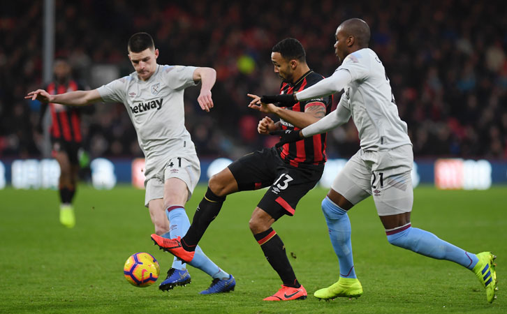 Declan Rice and Angelo Ogbonna in action against AFC Bournemouth