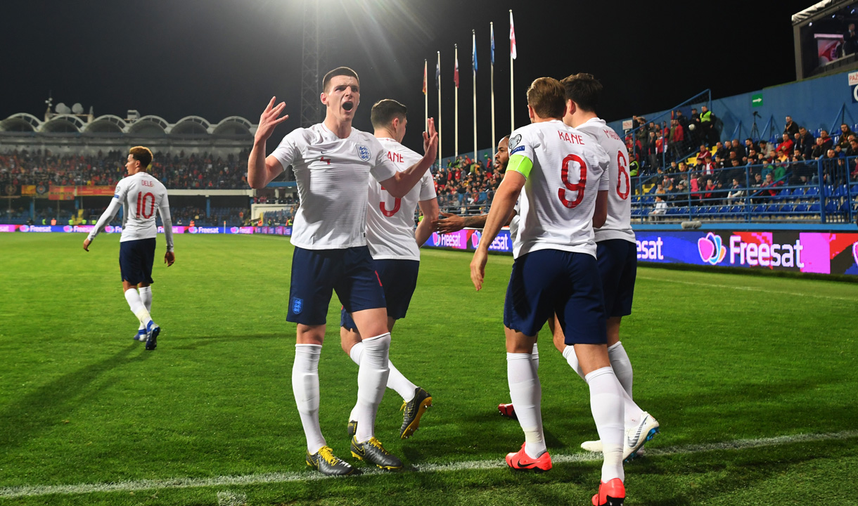 Declan Rice celebrates in front of the England fans