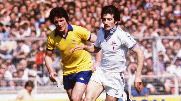 Alan Devonshire in action in the 1980 FA Cup final