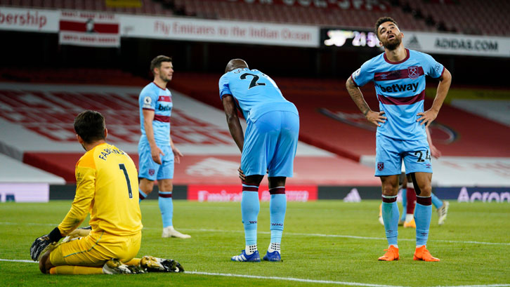 West Ham players show disappointment at Arsenal