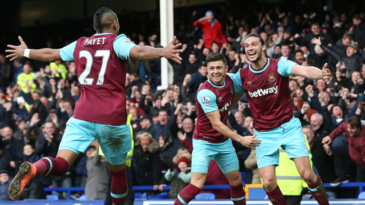 Payet, Cresswell and Carroll celebrate at Goodison Park