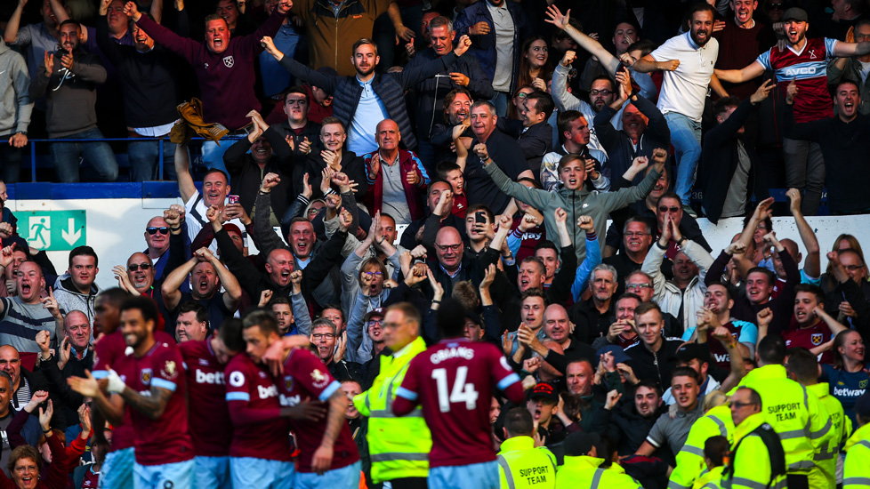 West Ham fans celebrate at Everton