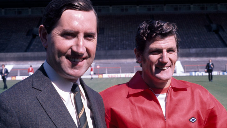 Frank O'Farrell with his Manchester United assistant manager and former West Ham teammate Malcolm Musgrove
