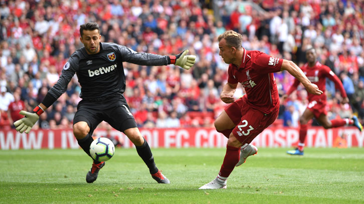Lukasz Fabianski in action at Liverpool