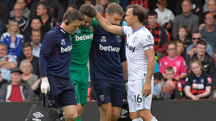 Lukasz Fabianski suffered a hip injury at AFC Bournemouth on 28 September