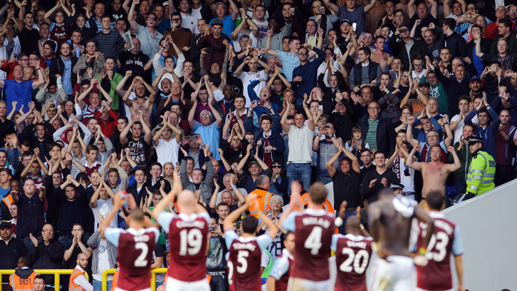 Fans celebrate victory at White Hart Lane