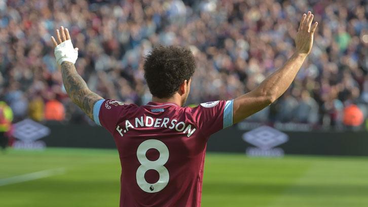 Felipe Anderson celebrates scoring against Manchester United at London Stadium