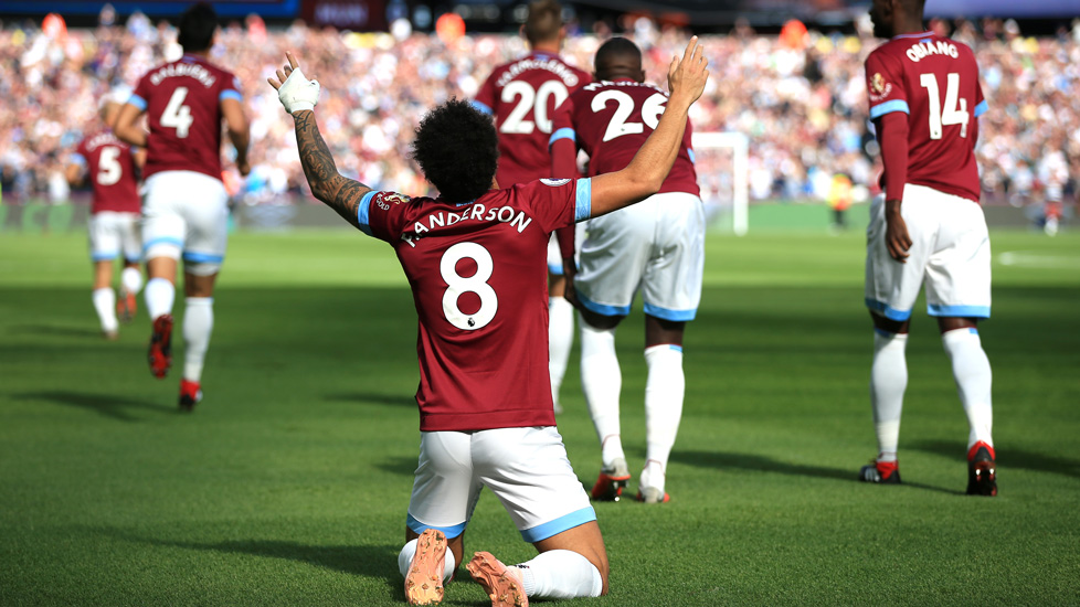 Felipe Anderson celebrates his goal against Manchester United