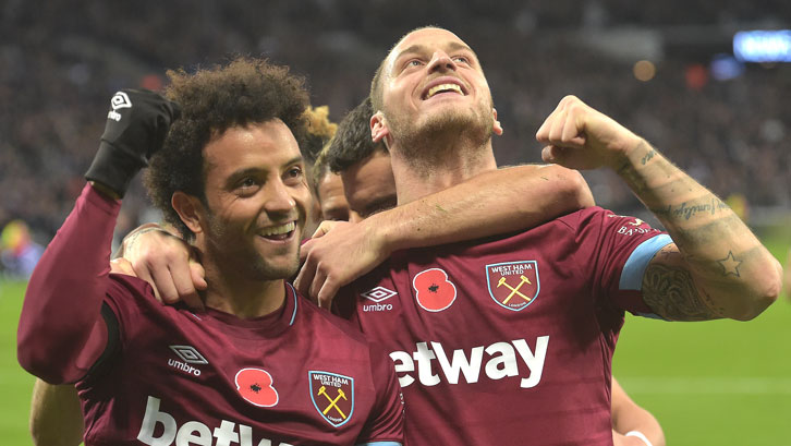 Felipe Anderson and Marko Arnautovic celebrate scoring against Burnley