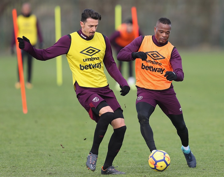 Jose Fonte and Patrice Evra in training at Rush Green