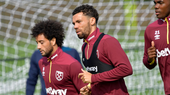 Ryan Fredericks in training at Rush Green during the international break