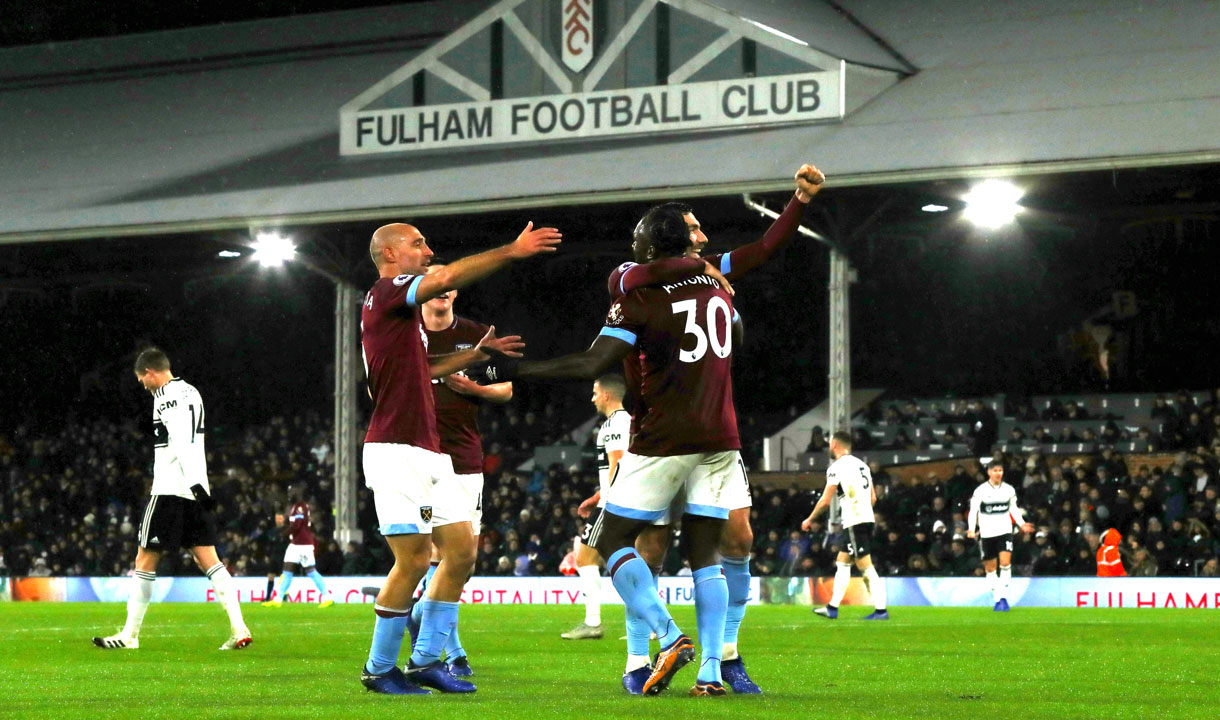 West Ham players celebrate at Fulham