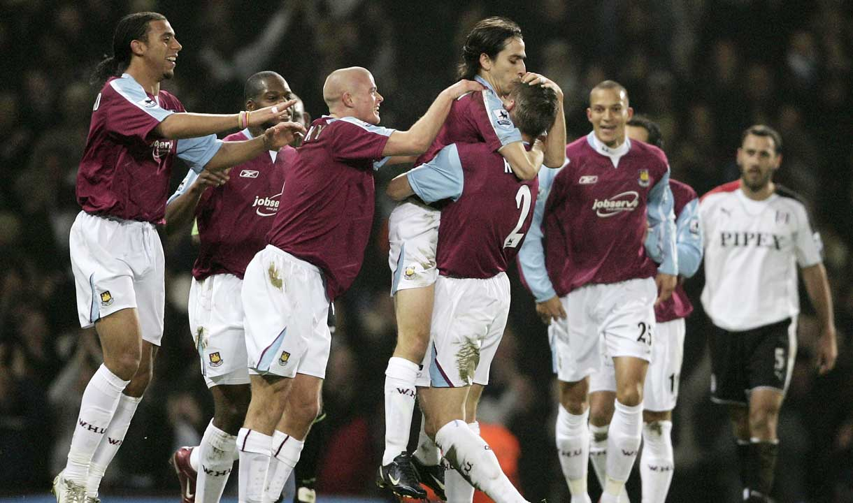 The Hammers celebrate Yossi Benayoun's goal against Fulham