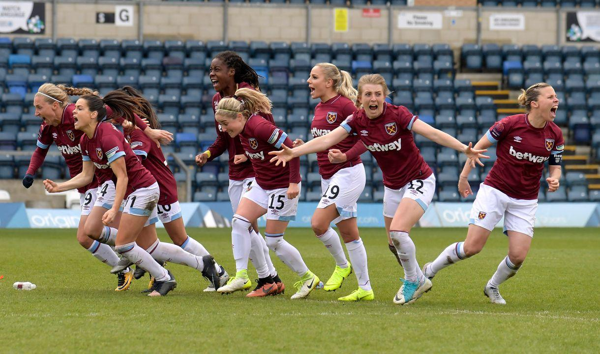 West Ham women's players celebrate