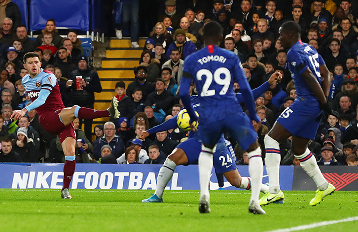 Aaron Cresswell hits the winner at Stamford Bridge