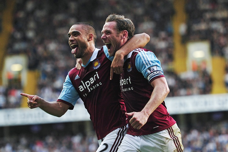 Kevin Nolan did his best to stop the defender scoring at White Hart Lane in October 2013!