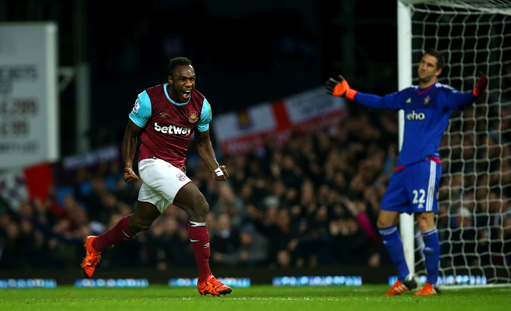 Michail Antonio celebrates scoring his first-ever West Ham United goal against Southampton in December 2015