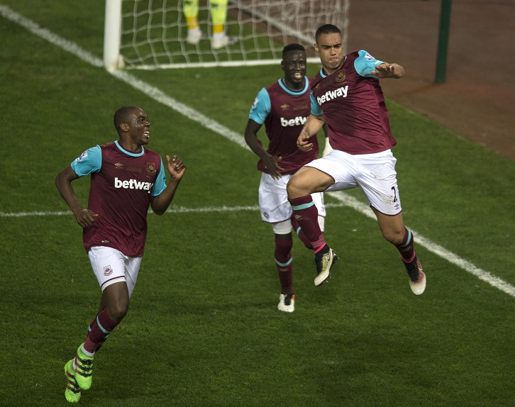 Winston Reid celebrates scoring the winner in the Final Game at the Boleyn Ground in May 2016