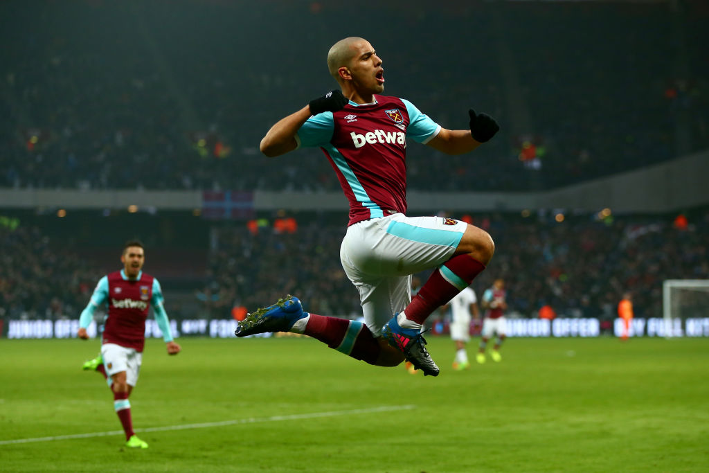 Sofiane Feghouli celebrates scoring for West Ham United in February 2017