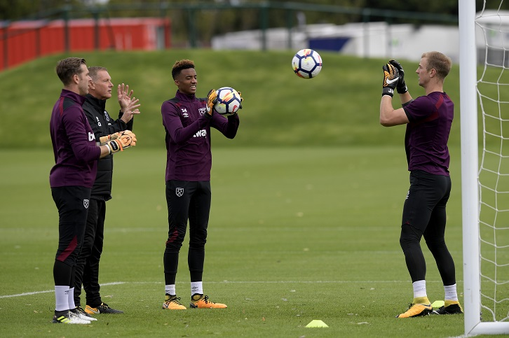 Joe Hart, Adrian and Nathan Trott in training with goalkeeper coach Chris Woods