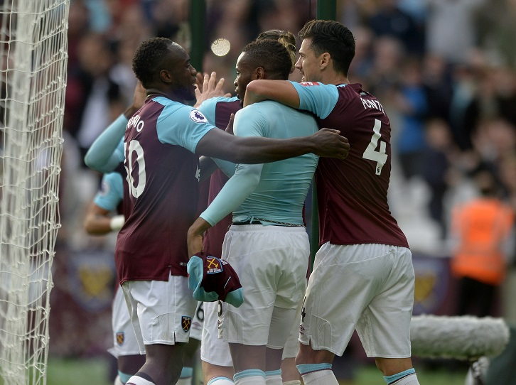 West Ham United players celebrate Diafra Sakho's winner against Swansea City last time out