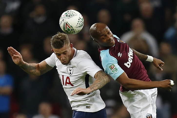 Andre Ayew in action against Tottenham Hotspur at Wembley