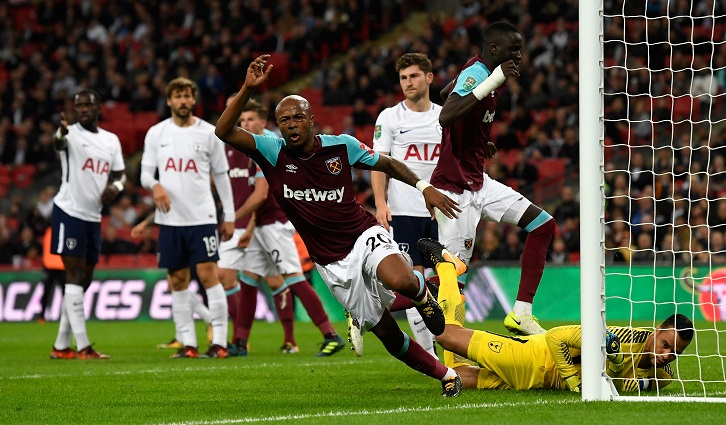 Andre Ayew scores at Wembley