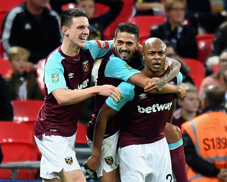 Andre Ayew celebrates drawing West Ham United level at Wembley