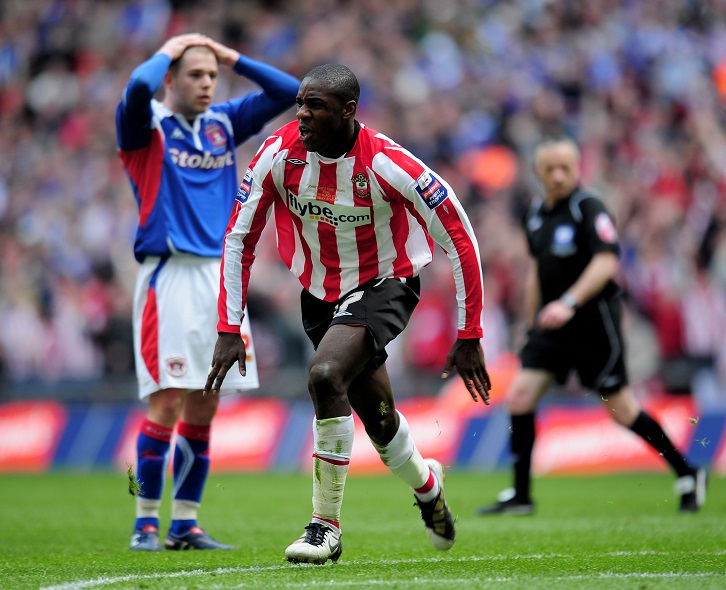 Michail Antonio celebrates scoring for Southampton in the 2010 Johnstone's Paint Trophy final