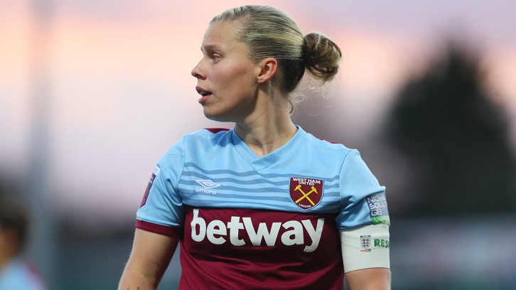 Gilly Flaherty in action for WHUFC