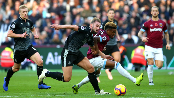 Grady Diangana takes on Burnley's Charlie Taylor during Saturday's win
