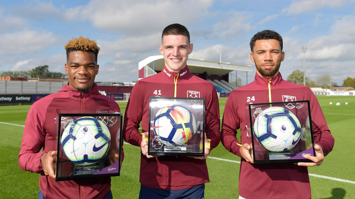 Grady Diangana, Declan Rice and Ryan Fredericks with their Premier League Debut Footballs