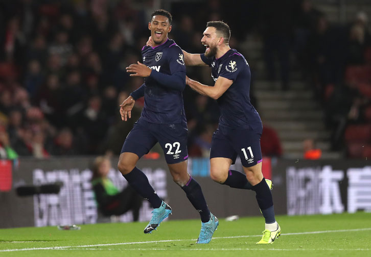Sebastien Haller celebrates scoring at Southampton
