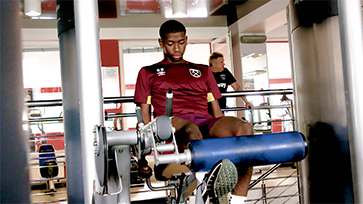 Ajibola Alese works in the gym