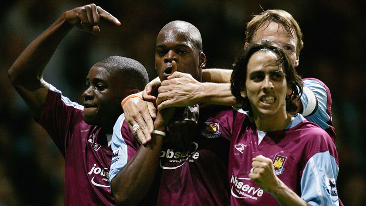 Marlon Harewood celebrates with Nigel Reo-Coker, Teddy Sheringham and Yossi Benayoun