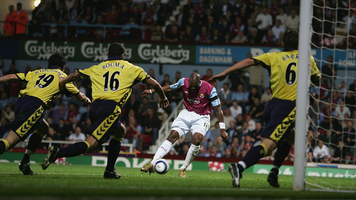 Marlon Harewood scores one of his three goals against Aston Villa in September 2005