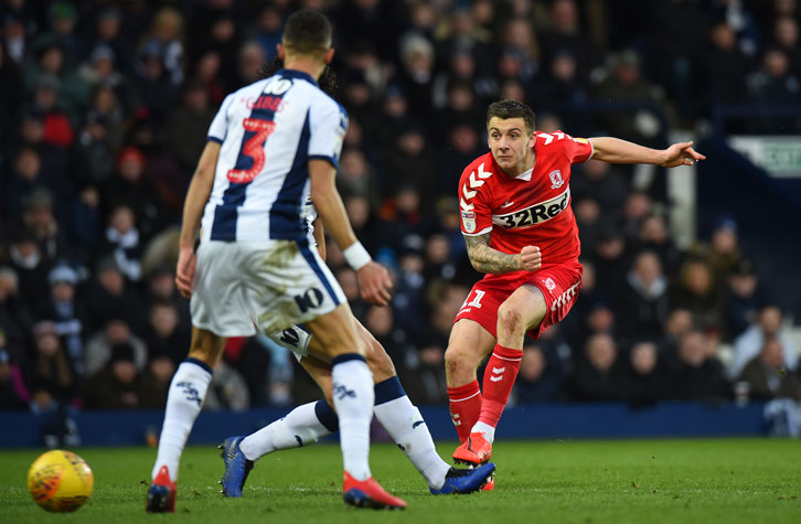 Jordan Hugill in action for Middlesbrough against West Brom