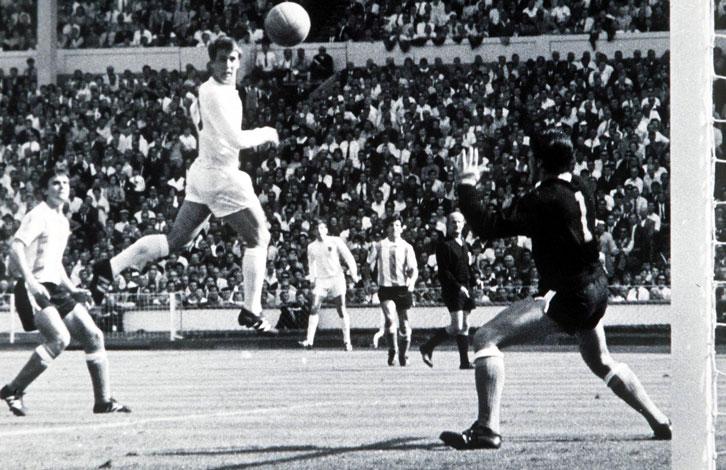 Geoff Hurst scores against Argentina in 1966
