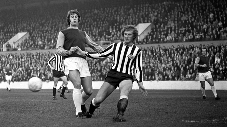 Geoff Hurst in action against Newcastle