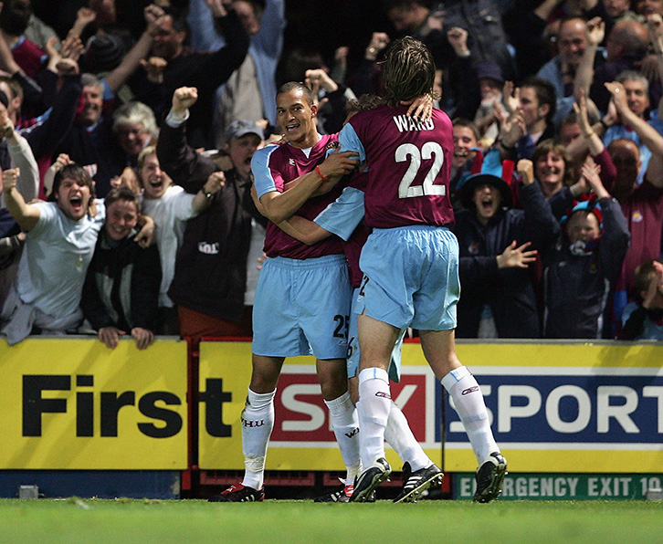 Bobby Zamora celebrates scoring at Ipswich Town in the 2005 Championship Play-Offs