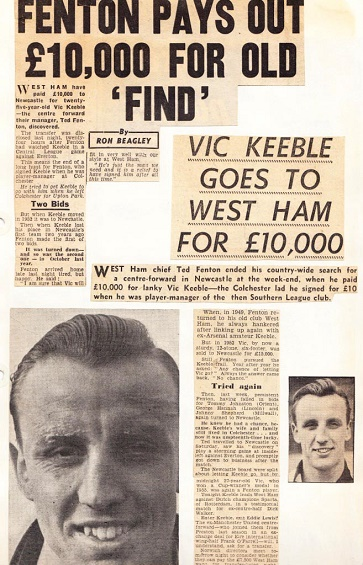 Vic Keeble joined West Ham United in October 1957