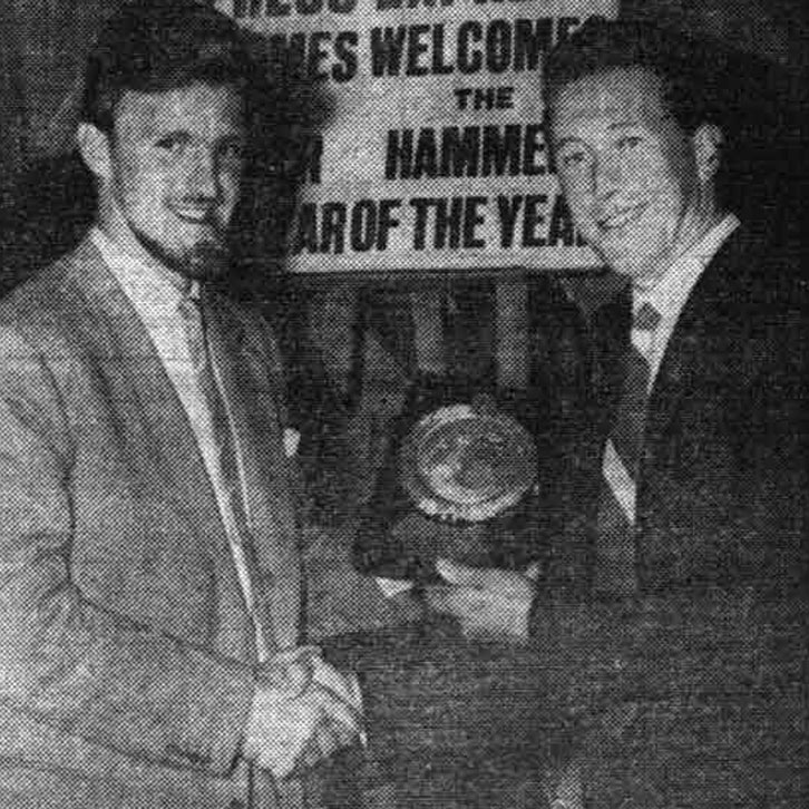 Ken Brown receives his 1959 Hammer of the Year award from Jimmy Hill