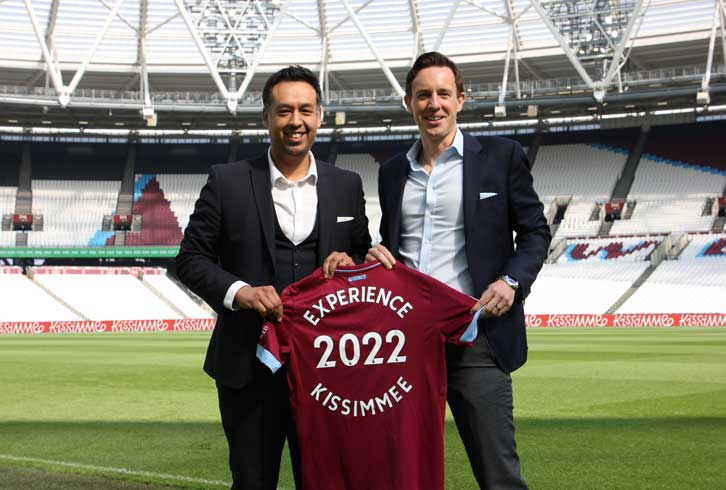 West Ham United Digital and Commercial Director Karim Virani with John Poole, Executive Director of Experience Kissimmee