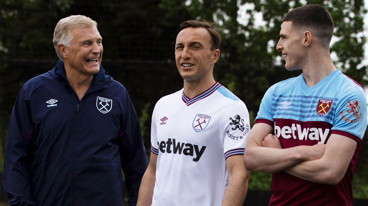 Sir Trevor Brooking, Mark Noble and Declan Rice in the 2019/20 kit